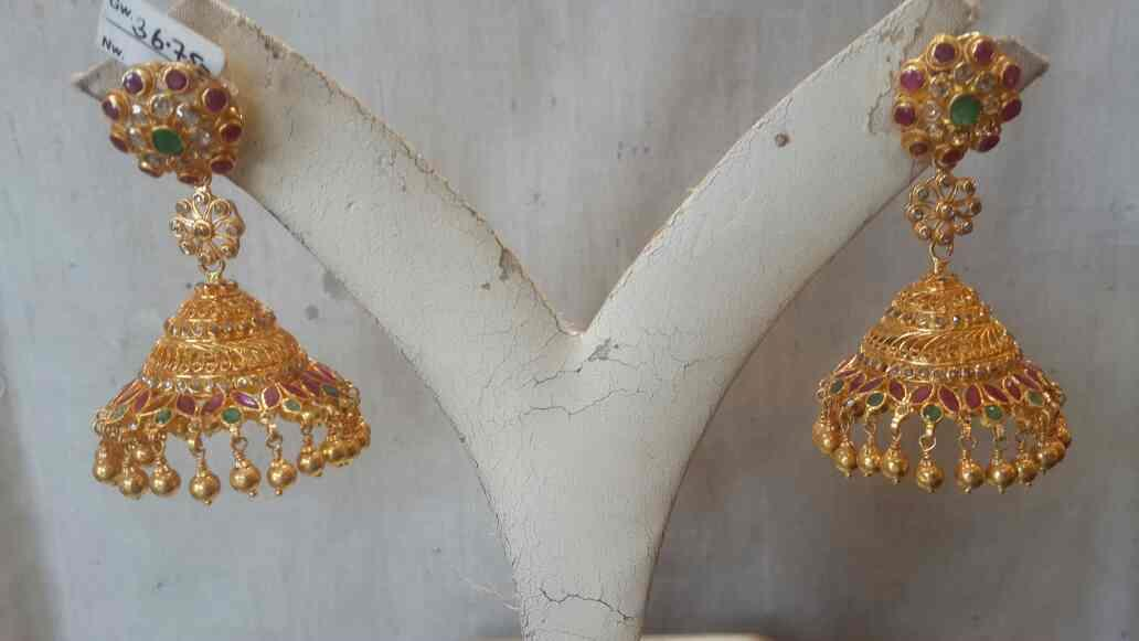 temple gold jhumka - by Suraj Bhan & Co. Jewellers, Hyderabad