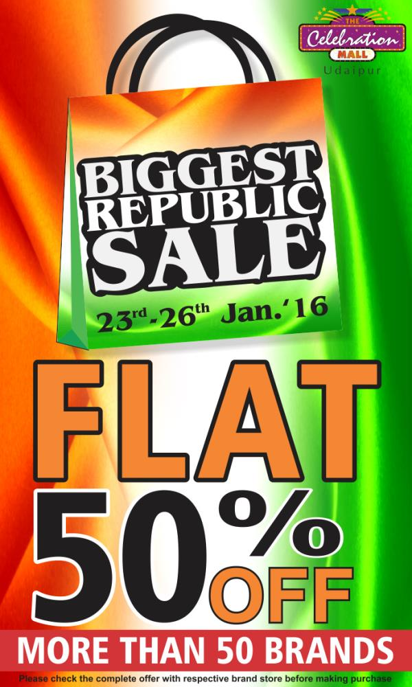The Biggest Sale of Udaipur is here from 23rd to 26th Jan 2016. Get Flat 50% off at more than 50 brands at The Celebration Mall Udaipur - by The Celebration Mall - Udaipur, Udaipur