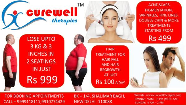 Latest weight loss, skin treatments & hair treatment offers by Curewell Therapies - by CUREWELL THERAPIES, North West Delhi
