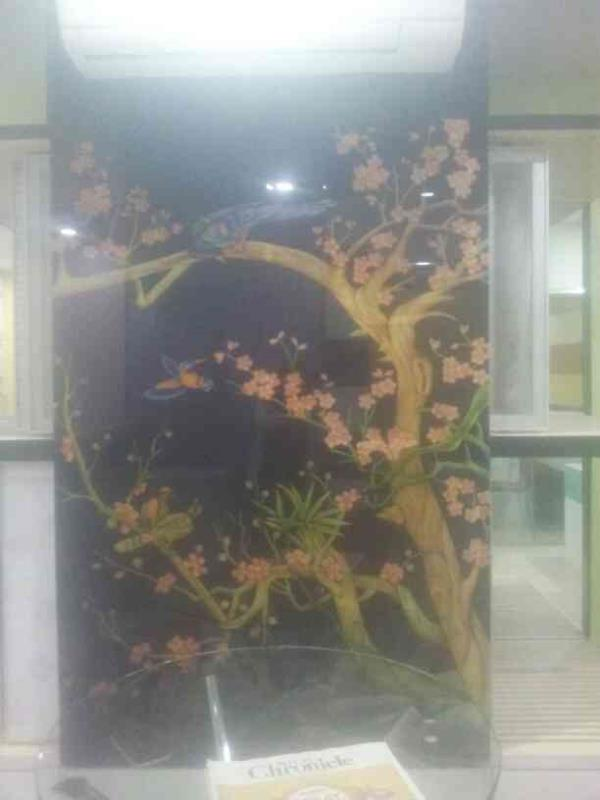 On back painted glass. etching design with colour. (Birds)  - by Reflexion, Hyderabad