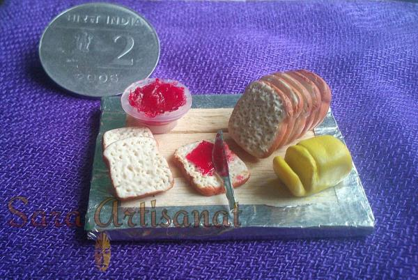 Miniature Bread with Jam and Butter #fridge magnet - by Sara Artisanat, Chennai