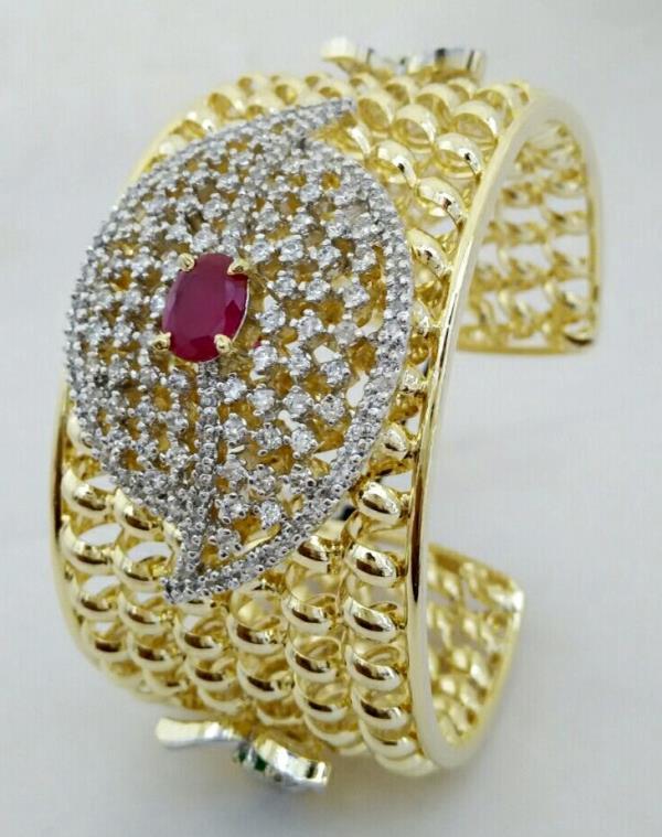 Imitation Jewellery Online, Bangles Design in Kada Bangle style with American Diamonds. - by SHARDA SHRINGAR ART JEWELLERS, Mumbai