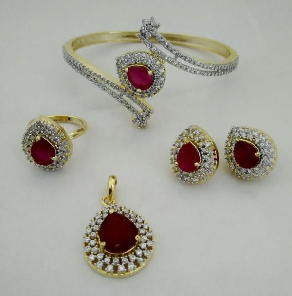Designer Jewellery Online, Imitation Jewellery inclusive of Gold Pendant Set, Kada Bangle, Gold Ring & Gold Kundan - by SHARDA SHRINGAR ART JEWELLERS, Mumbai