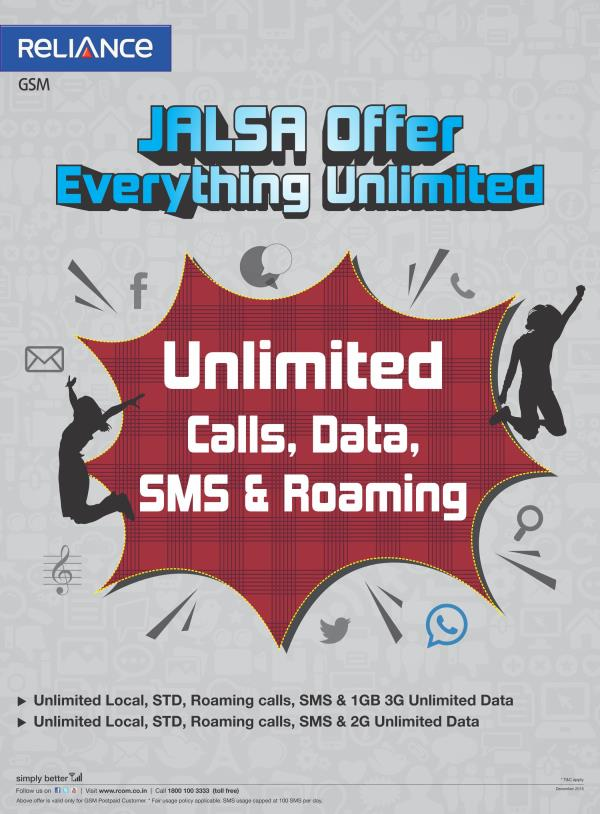 First Time in India. OFFER,   RELIANCE JALSA-Just @ Rs. 499/- Post Paid Connection. Benefits:Unlimited Calls, to any Network 24/7 Unlimited  Free 2G Internet Data. Unlimited SMS to any Network  All are for Just @499 per Month. Your Number w - by Reliance Mobile Store, Mumbai