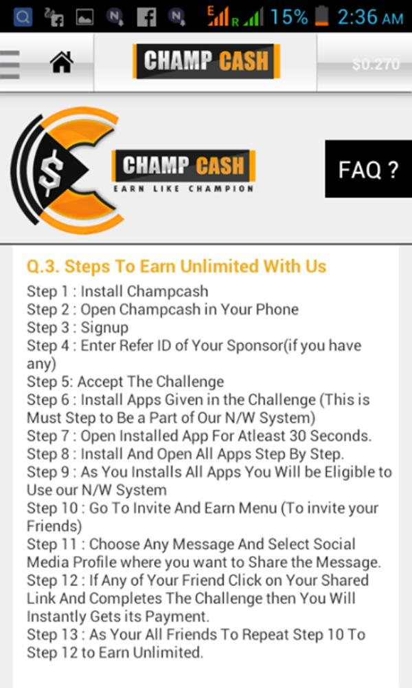 EARN MONEY FROM ANDROID MOBILE WITH OUT INVESTMENT 100% FREE APPLICATION KNOW AS CHAMPCASH.  1.OPEN PLAYSTORE ON YOUR ANDROID MOBILE TYPE CHAMPCASH INSTALL IT. 2.PUT REFF ID 1256586 3.INSTALL ALL APPLICATIONS 1 BY 1 AS GIVEN THERE ACCORDING - by Chiteshwor Online Business, Imphal