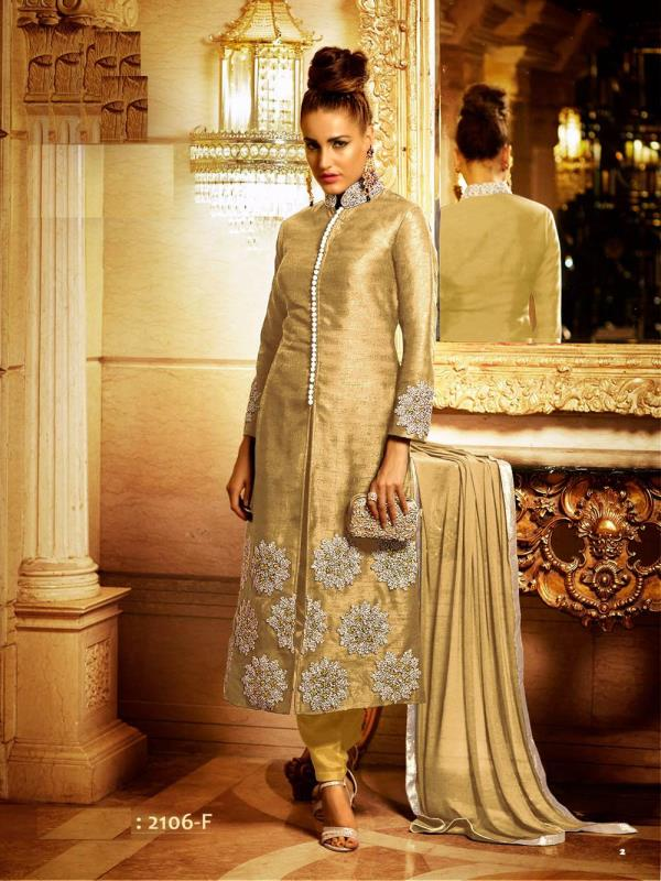 Grab this stunning sherwani suit in silk at a very exclusive price , comes with stretchable legging and beautiful dupatta . Visit us at www.purisonline.com - by Puri's Online, Delhi