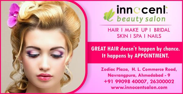 GREAT HAIR  doesn't happen by chance  it happens by APPOINTMENT !   Book Your Appointment @ Best Spa in Ahmedabad !   INNOCENT BEAUTY SALON  HAIR I MAKE UP I SPA  BRIDAL I SKIN I NAILS   Zodiac Plaza, H. L. Commerce Road, Navrangpura, Ahmed - by Innocent Beauty Salon Ahmedabad, Ahmedabad