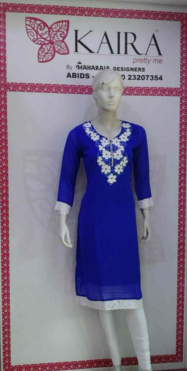 KURTI ( GEORJET LONG KURTI )  COLORS : BLUE, PEACH, WHITE, PINK  SIZE :- M, L, XL  M.R.P : 1080/- ONWARDS  - by Kaira abids , Hyderabad