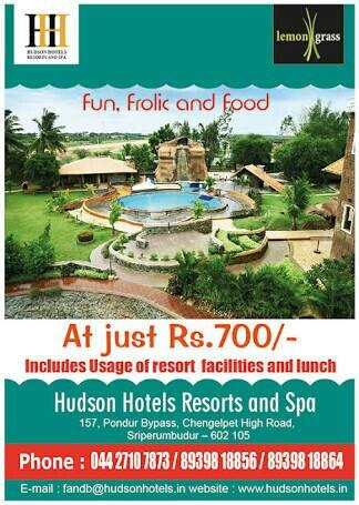 Offers At Hudson Resorts - by HUDSON  HOTEL'S  Resort's And SPA, Chennai