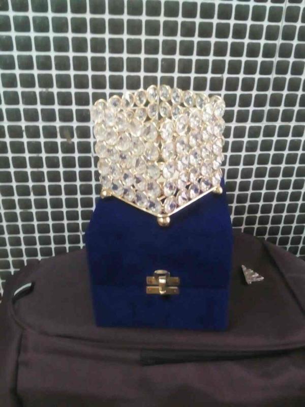 Crystal beads t-light holder. - by Metal Shaper, Moradabad