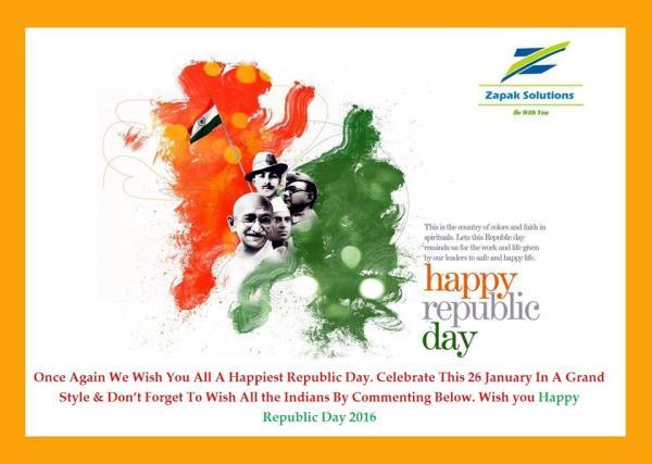 HAPPY REPUBLIC DAY - by zapaksolutions.com, kolkata