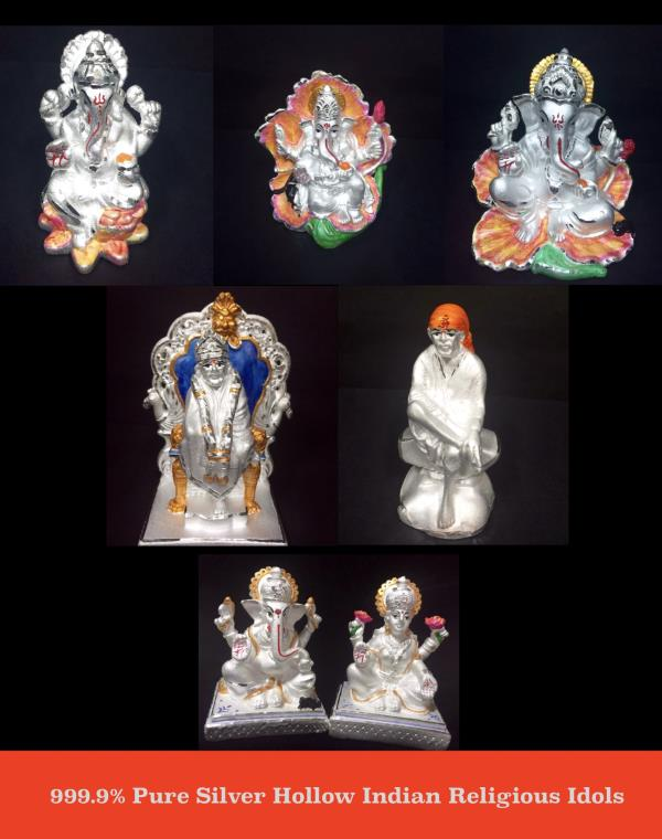 999.9% Pure Silver Hollow Indian Religious Idols - by SHARDA SHRINGAR ART JEWELLERS, Mumbai