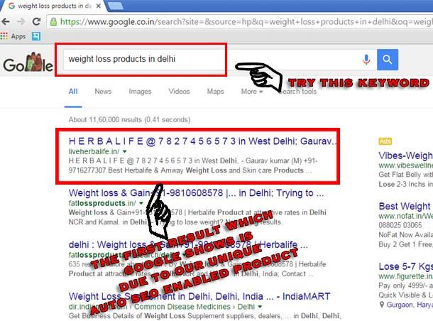 Want to see your business or product on 1st page of google when anyone search products or services which you're also offering? contact us. we provide a unique auto seo enabled product which offers unlimited keywords. Here is an example in t - by See Business Online, North West Delhi