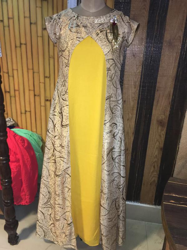 Long yellow gown with shimmer stylish jacket  - by Navnidhi, Jodhpur