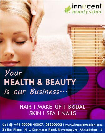 Your HEALTH & BEAUTY is our Business...!   Book Your Appointment @ Best Spa in Ahmedabad !   INNOCENT BEAUTY SALON  HAIR I MAKE UP I SPA  BRIDAL I SKIN I NAILS   Zodiac Plaza, H. L. Commerce Road, Navrangpura, Ahmedabad - 9  Mo.: +91 99098  - by Innocent Beauty Salon Ahmedabad, Ahmedabad