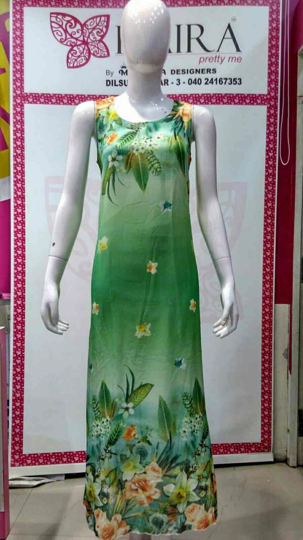 Digital gown  Size : - Free size  Colours :- green, pink, blue, L yellow  MRP 1250 - by KAIRA Dilsukhnagar, Hyderabad