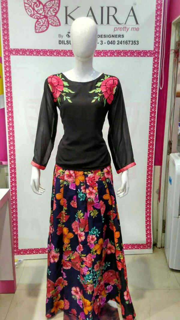 Skirts with top  Size :- M  Colours :- black, gold  MRP 1790 - by KAIRA Dilsukhnagar, Hyderabad