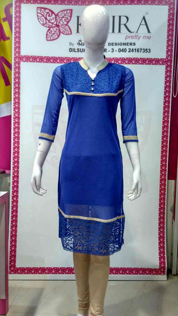 Netted kurti  Size :- M, L, XL  Colours :-nevi  blue, red, royal blue  MRP 710  - by KAIRA Dilsukhnagar, Hyderabad