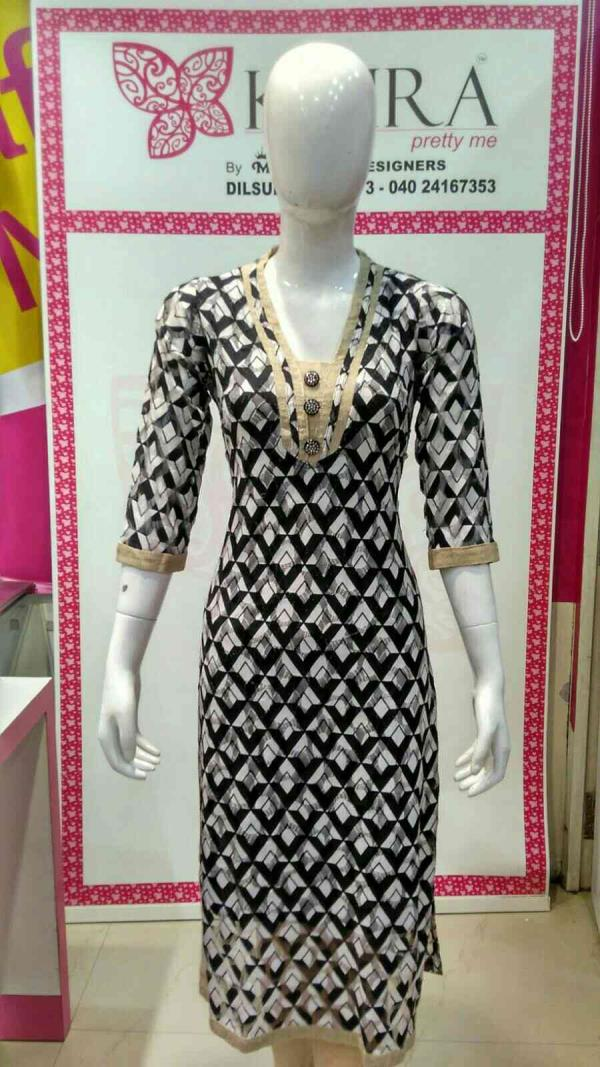 Netted kurti  Size :- M, L, XL, XXL  Colours :- peech, black, red, C green, buff  MRP 1270 to 1400 - by KAIRA Dilsukhnagar, Hyderabad