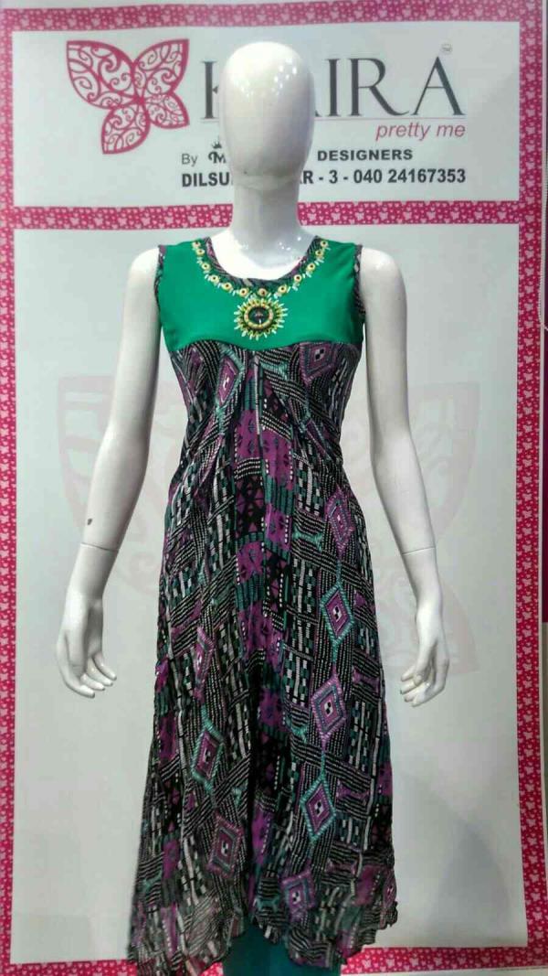 Jorjet  frock  size:- L Colours :- green, pink.  mrp :- 1690. - by KAIRA Dilsukhnagar, Hyderabad