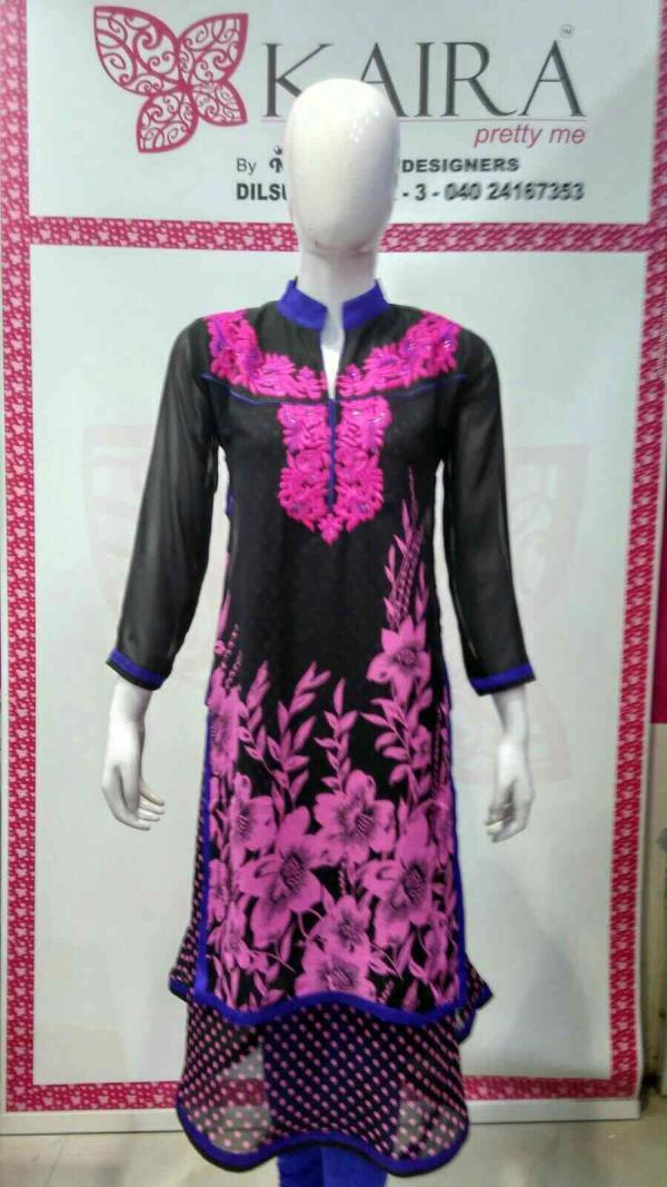 fancy kurti  Size :- M, L, XL.  colours :- pink, yellow, rama green.  mrp :- 1310. - by KAIRA Dilsukhnagar, Hyderabad