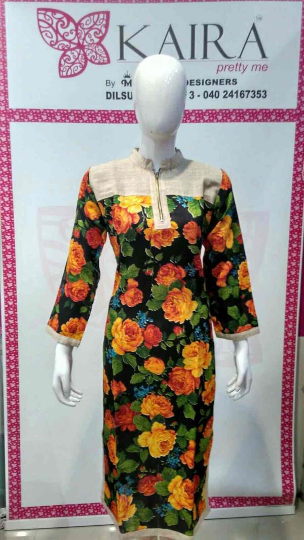 fancy kurti  Size :- M, L, XL, XXL, 3xl.  colours :- pink, blue, red.  mrp :- 850  - by KAIRA Dilsukhnagar, Hyderabad