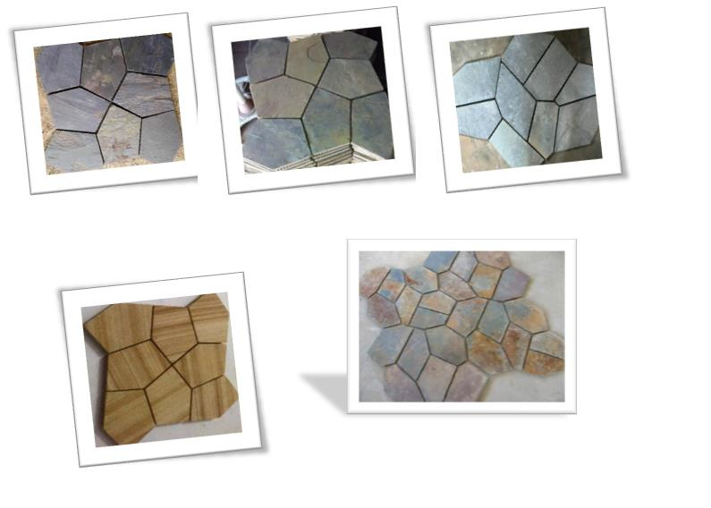 Random Mosaic: Random Mosaic offers an endless variety of four sided stones all tightly woven together as a mosaic tile. Each tile is uniquely made up of individual stone rectangles and squares of varying size and shape, hand placed in an - by Pride Stone Impex, Udaipur