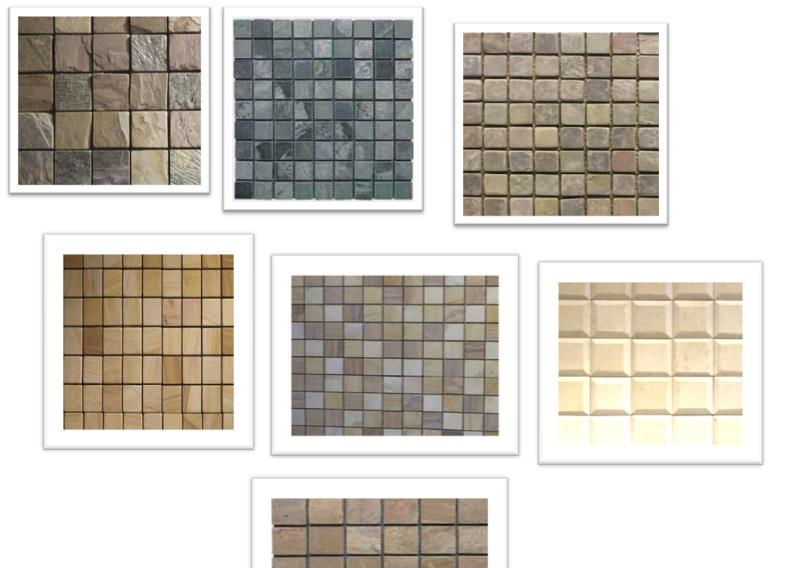 Squares Mosaic   Pride Stone Impex Squares Mosaic brings you more decor enhancement opportunities than ever before. These solid stone tiles have been quarried, honed and tumbled to bring out their natural tunings and textures.  Like many ti - by Pride Stone Impex, Udaipur