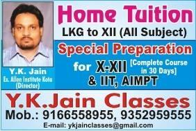 Tutorials For Class XII home tution faculty in kota , English Speaking Class for home tution faculty in kota Coaching Class For B.A in kota , Coaching Class For Arts kota, Home tution in kota , L.K.G. to 10th  home tution faculty in kota - by Y K Jain Classes, Kota