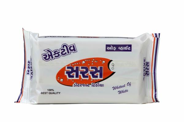 Saras Active detergent cake  Best offwhite soap  150gm cake - by Prakash Detergent, Ahmedabad