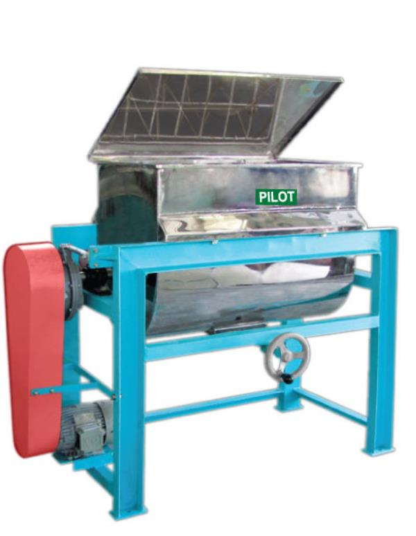 Ribbon Blender: Ribbon blenders are used for blending powders of similar physical properties. Ribbon blender comprises of a 'U' trough mounted on rigid frame. Raw materials fed to the machine are moved left and right and upside down by the  - by Sri Ganesh Mill Stores, Coimbatore