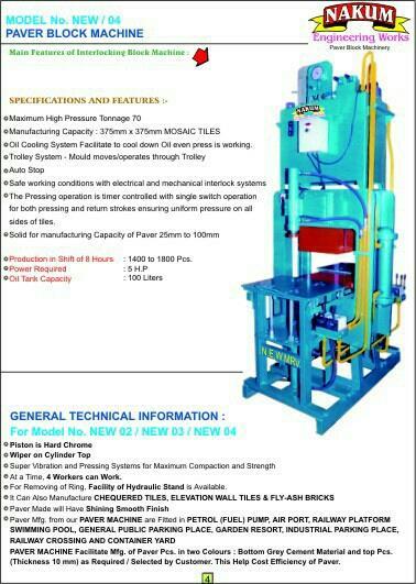 we are leading manufacturer of interlocking paving blocks machine  - by Nakum Engineering Works , Morbi