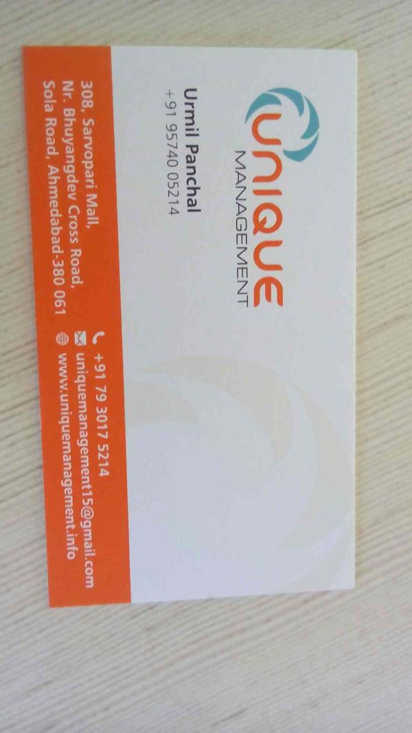 visiting card - by Unique Management, Ahmedabad