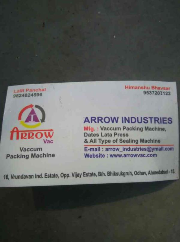 vaccum packing machine dates lata press manufacturer in india - by Arrow Industries, Ahmedabad