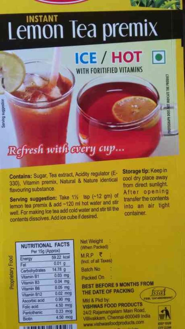 Beat lemon tea premix in Chennai - by Vishwas Food Products, Chennai