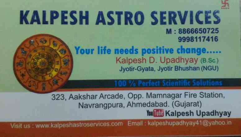 we are best service provider for astro and jyotish consultant in ahmedabad  - by Kalpesh Astro Services , Ahmedabad