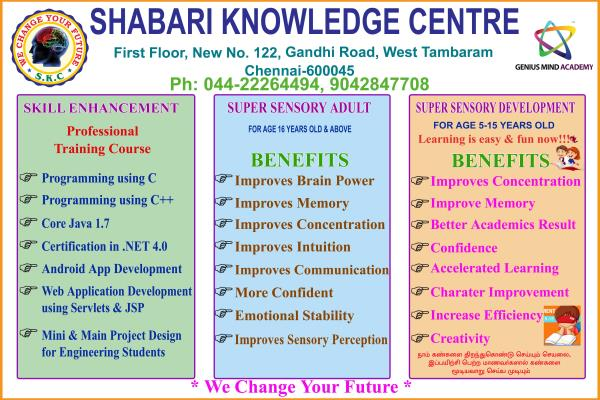SHABARI KNOWLEDGE CENTER (SKC) offers intensive coaching and training for B.E., B.Tech. (EEE/ECE/MECH/CSE/IT/CIVIL/E& I), M.E. & M.Tech. (all Braches) was established in 2014 at Tambaram. The main objective of this concern is to cater the n - by Shabari Knowledge Center, Chennai