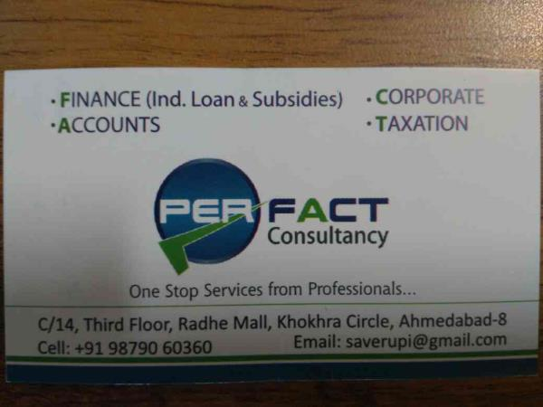 we are one stop solution for accounting, finance, subsidy, taxation based on Ahmedabad. - by Perfect Consultancy, Ahmedabad