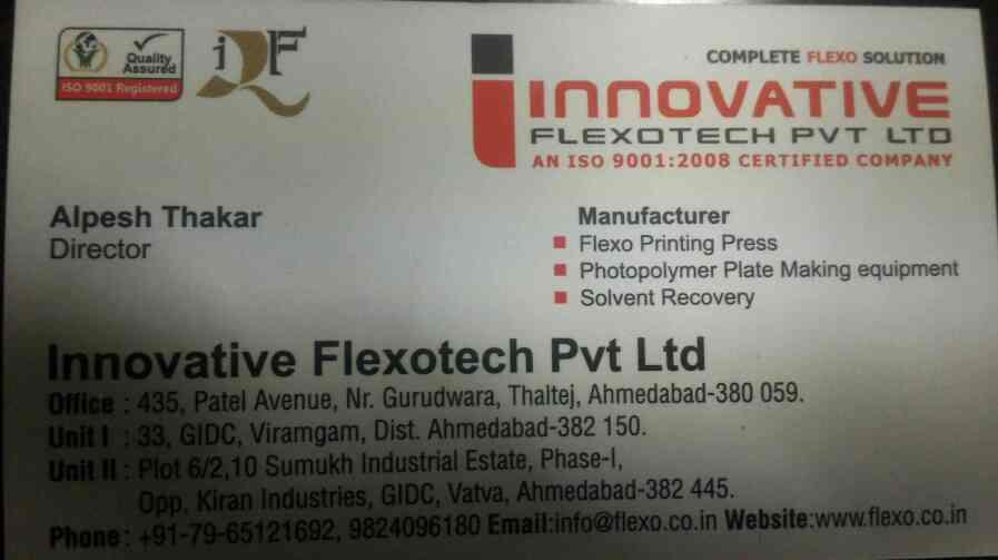 plz contact for flexo graphic printing machine in ahmedabad  - by Innovative Flexotech Pvt Ltd , Ahmedabad