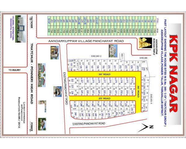 Residential Layout K P K Nagar   Andarkuppam, Ponneri  Near Velammal International School,   Andarkuppam Murugan Temple - by Jaayam Promoters, Thiruvallur