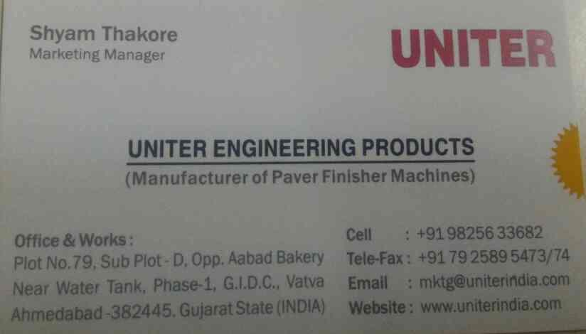 we are one of the leading manufacturer and exporters of paver finishing machine in ahmedabad gujarat India  - by Uniter Engineering Products , Ahmedabad