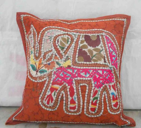 khambadia elephant cushion made by cotton with some nice sparkles.  size :- 16*16 colour:- multicoloured  - by Shiva Cloth Stores, Ajmer
