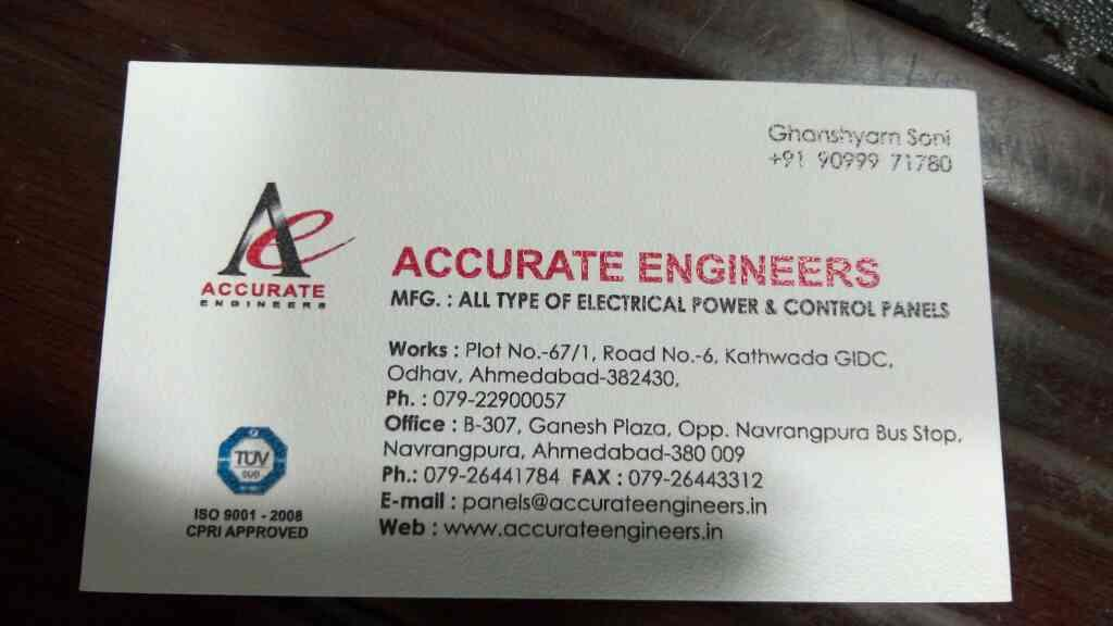 electrical panel - by Accurate Engineering, Ahmedabad