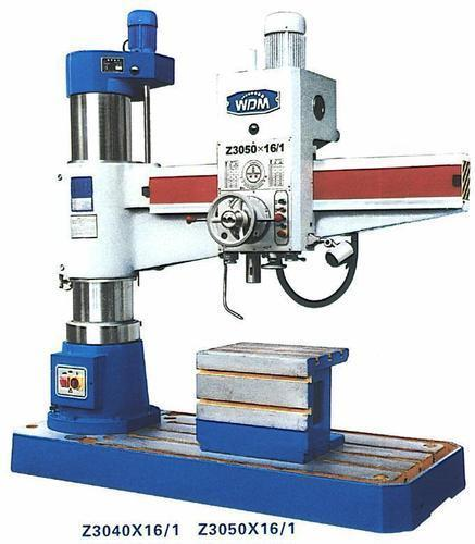 MAC Machine Tools In Coimbatore Radial drilling machine drilling size 40 mm, 50 mm, 63 , , 80 mm,    100 mm, gear box head, hydraulic locking, up and down moterised, with box table, lamp, leveling bolt, coolant system.  Radial Drilling Mach - by MAC MACHINE TOOLS, Coimbatore