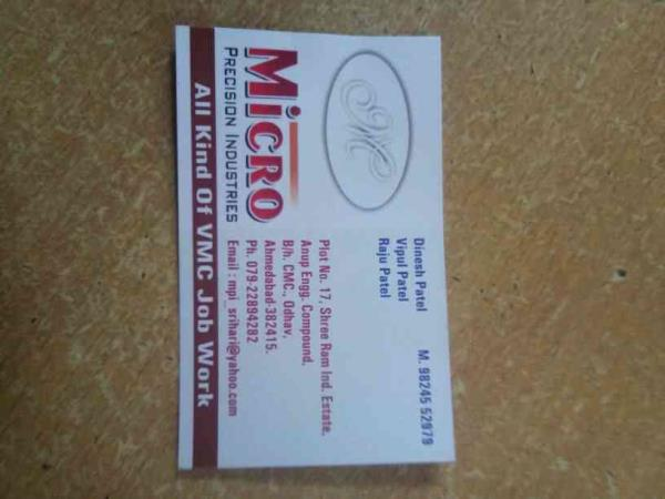 we are providing vmc machine.jobwork in ahmedabad   - by Micro Precision Industries, Ahmedabad