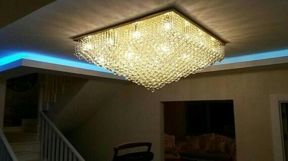 Square crystal chandelier  - by Litfur Crystal lighting, Delhi