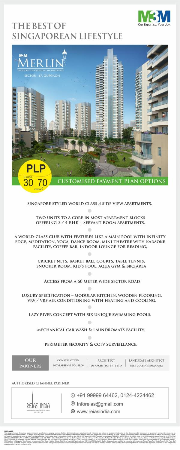 M3M Offers Singapore Styled World Class 3 Side Open View Apartments  in M3M Merlin, Sector 67 Gurgaon  Attractive Possession Linked Plan – Construction by Shapoorji & Pallonji  For Projects Detail Visit- http://goo.gl/FFMHMa  For Any Query  - by Reias India Real Estate Pvt. Ltd., Gurgaon