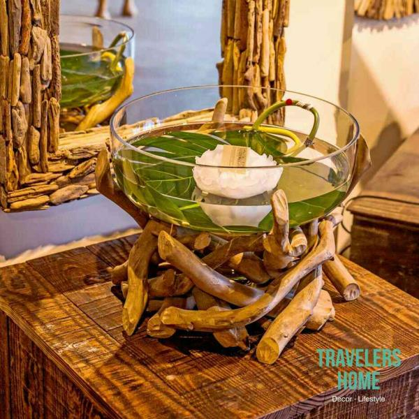 This is one of the masterpiece imported from Europe exclusively available at our store. You can decorate your living room or guest room with such masterpiece. A wooden stack support with a big glass  bowl.   # Antique Masterpiece For Home D - by TRAVELERS HOME : Home Decor Products, Ahmedabad