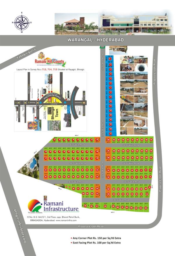 Residential plots available at yadagirigutta opposite Hotel VIVERA with all developments - by Land Bank , Hyderabad