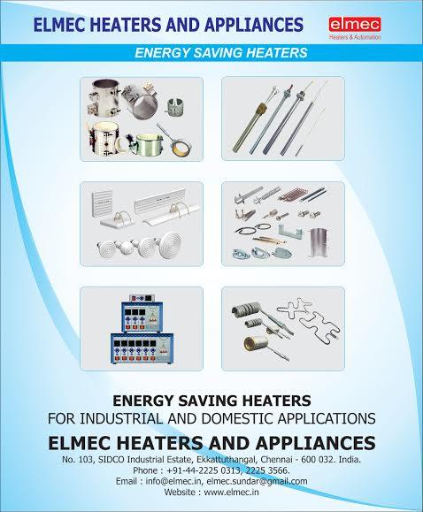 Elmec heaters and appliances Chennai India offers  BEST QUALITY MICA BAND HEATERS BEST QUALITY HOT RUNNER HEATERS BEST QUALITY CARTRIDGE HEATERS BEST QUALITY INFRARED HEATERS BEST QUALITY ALKALINE HEATERS BEST QUALITY WATER IMMERSION HEATER - by Elmec Heaters and automation -  928 222 7071, Chennai